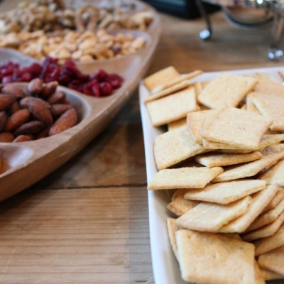 crackers, nuts and fruit