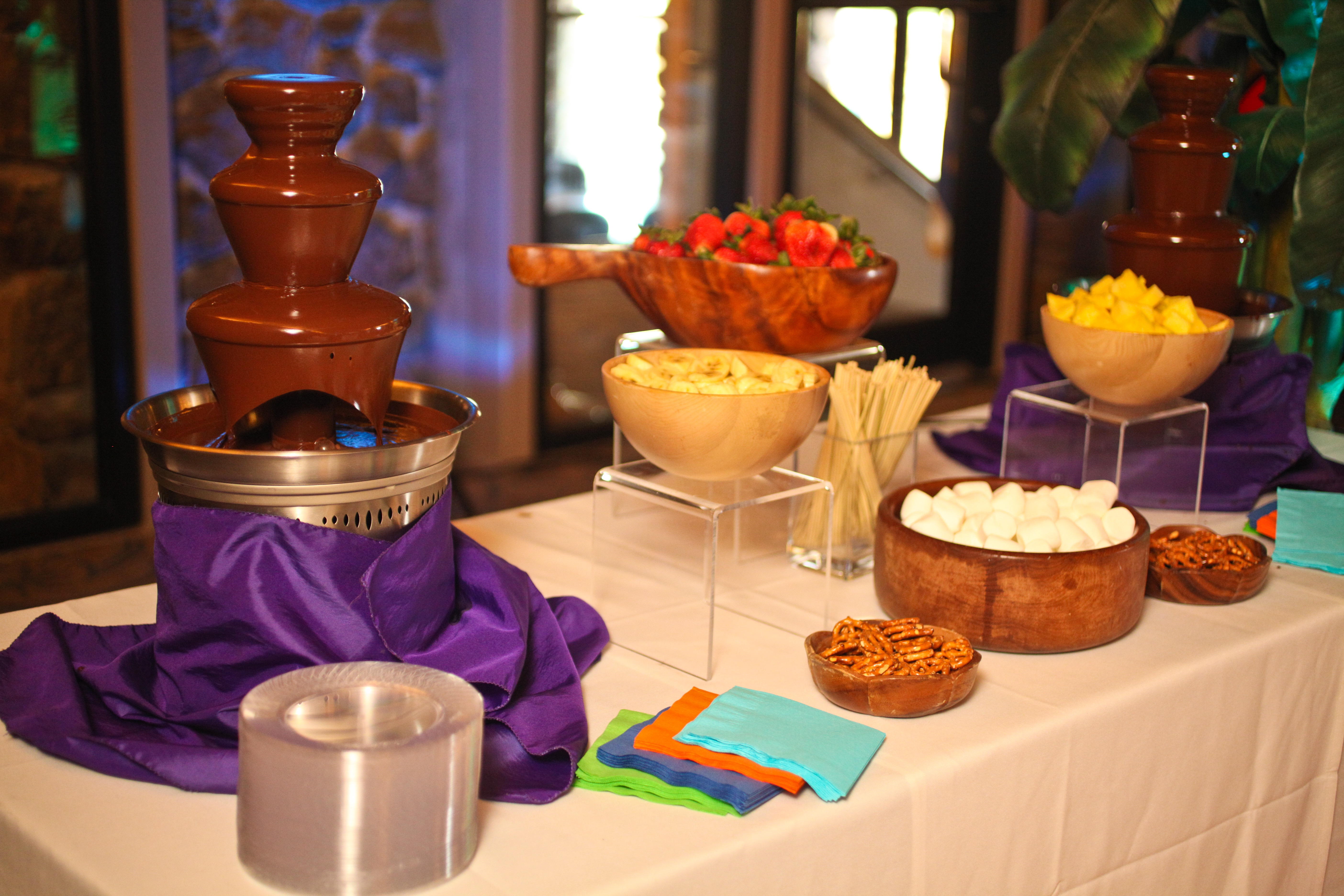 chocolate fountain catering spread