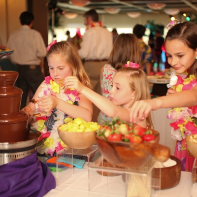 guests at catered event chocolate fountains