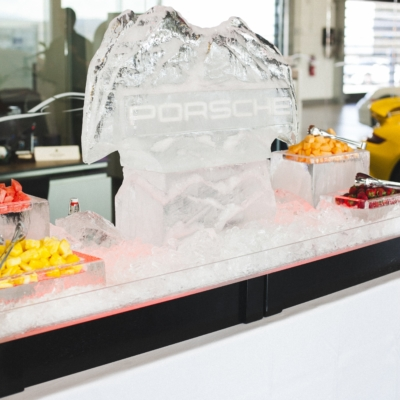 porche corporate event catering with ice sculpture